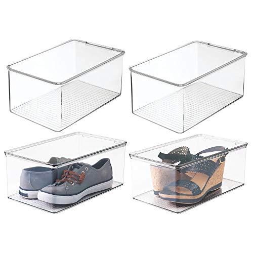 mDesign organizador de zapatos - Organizador plástico apilable con tapa en color transparente - Set...