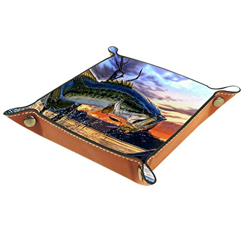LynnsGraceland Bandeja de Cuero - Organizador - Percha Saltando - Práctica Caja de Almacenamiento para Carteras,Relojes,Llaves,Monedas,Teléfonos Celulares y Equipos de Oficina