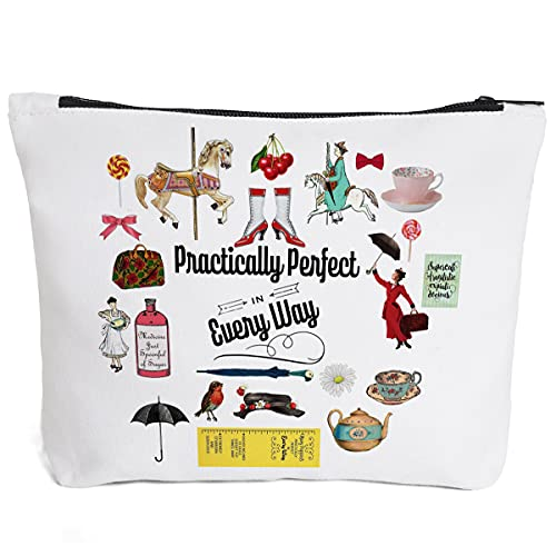 IHopes+ Quotes Mary Poppin Reusable Makeup Bag,Cute Practically Perfect in Every Way Makeup Bag Gifts for Teens Women Best Friends Ihopes