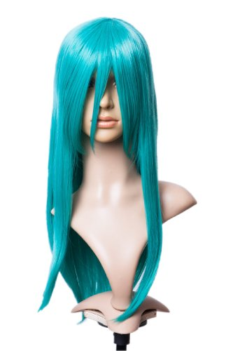 Prettyland Perruque longe Raide Droite 60cm Franges longues Cosplay Turquoise Wig Fée Magique Convention Manga C600
