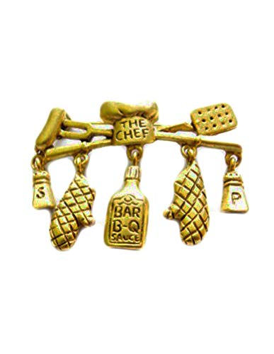 Danecraft Gold - Plated The Chef BBQ Barbeque Pin Brooch