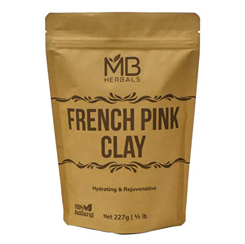 MB Herbals French Pink Clay 227g (Half Pound) | Montmorrillonite Pink Clay (French Rose Clay) | Mild, Hydrating Clay suitable for Sensitive, Matured & Acne-Prone Skin