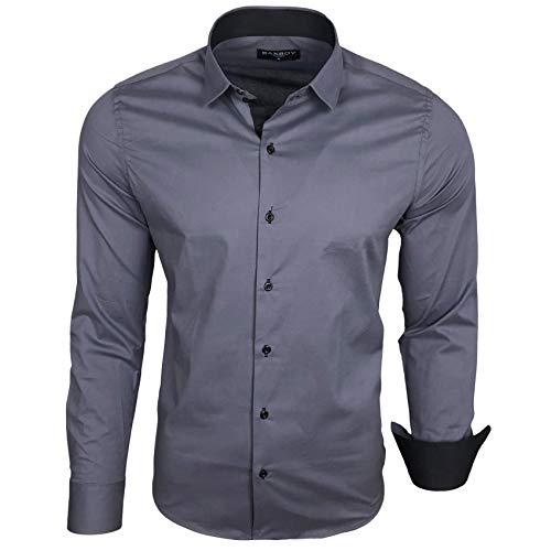 Baxboy Herren-Hemd Langarm/Business Freizeit Hochzeit/Bügelleicht/Slim-Fit/Anzug Kentkragen Hemd B-500, Größen:L, Farbe:Anthrazit
