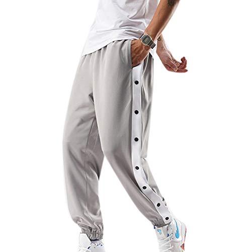 keepmore Pantalones de chándal con Botones a presión Laterales para Hombre Pantalones de Entrenamiento de Baloncesto Sueltos Ocasionales