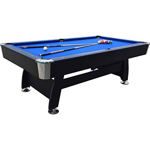 Feelcomfort Billardtisch California 8ft (Blau/Schwarz) Pool Snooker Schieferplatten inklusive Zubehörset