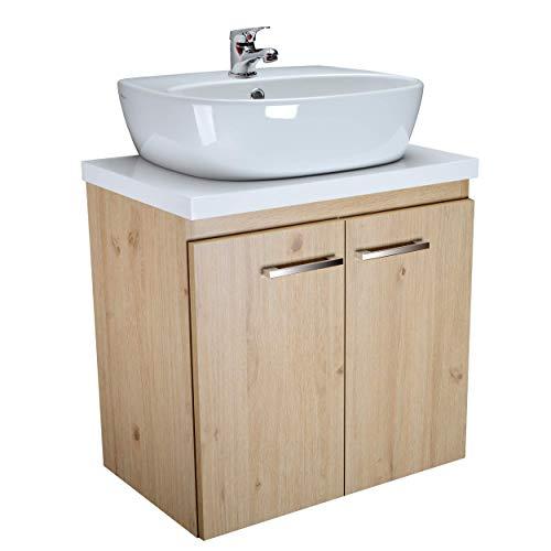 paplinskimoebel Aufsatzwaschbecken mit Waschtischunterschrank mit Platte 60 cm Breit Waschtischunterschrank Badmöbel Set mit Waschtischarmatur (Eiche Hell)