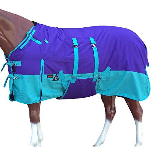 HILASON 74 in 1200D Winter Waterproof Horse Blanket Belly Wrap Blue