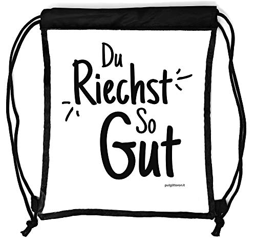 clapur Rucksack durchsichtig, transparenter Turn-Beutel Sportbeutel Gymbag für Festival, Konzert, Party Clear Secure Safe Bag Aufdruck: Du riechst so gut