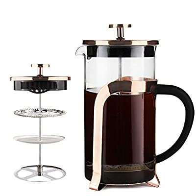 French Press Coffee Maker 34OZ by Sivaphe RoseGold Double-Wall Borosilicate Glass Tea Pot with Stainless-Steel Filter 1000ml