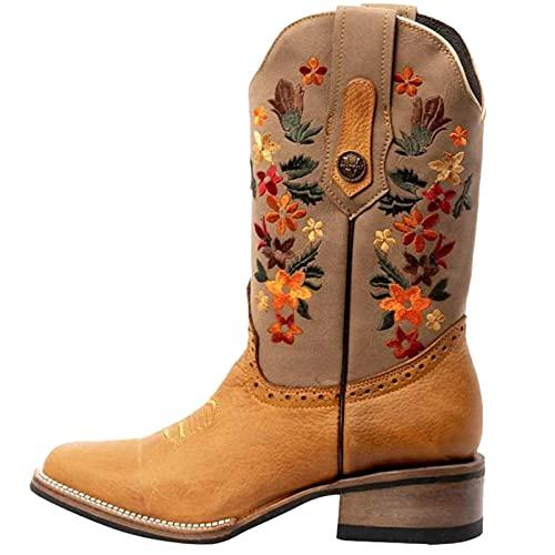 Botas de cowboy para mujer, para otoño e invierno, botas de invierno para mujer, botas de invierno bordadas, botas retro puntiagudas con tacón grueso, botines de invierno botines de cuña