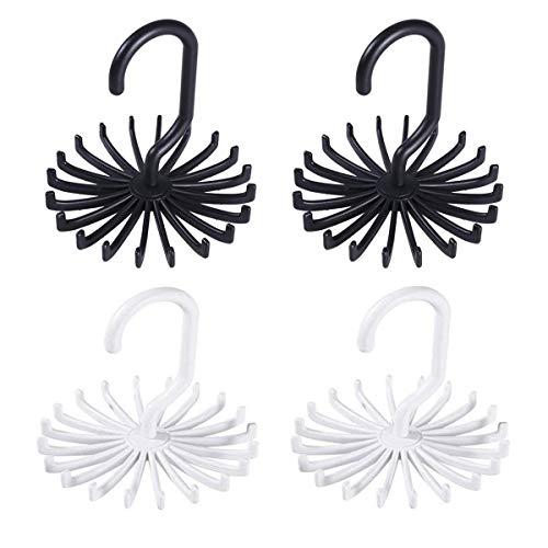 ExeQianming Schal-Kleiderbügel, drehbar, 4 Stück, verstellbare Krawattenhalter für Schrank-Organizer, Aufbewahrungszubehör (schwarz, weiß)
