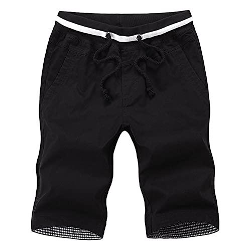 Men's Drawstring Shorts Casual Classic Fit Summer Beach Short Pants Outdoor Elastic Waist Pockets Shorts (L(30-31),Black)