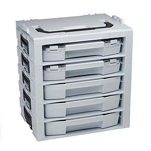 Bosch Sortimo L-BOXX i-Rack 5 fach   bestückt mit i-BOXX und Schublade   Instboxenset C3 und B3