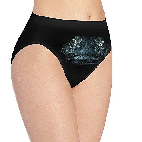3D Print Soft Ropa interior de mujer Cocodrilo Noche Caza Ojos Moda Coqueta Sexy Lady Bragas Calzoncillos, M (Cintura: 34cm)