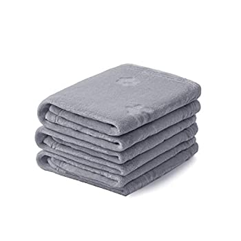 1 Pack 3 Blankets Soft Fluffy Fleece Pet Blanket Flannel Throw with Cute 3D Paw Design for Dog Puppy Cat Light Grey Small