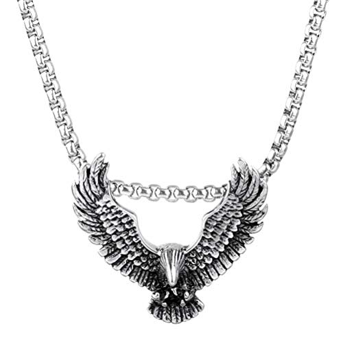 Bernice Funk Collar Colgante de Acero de Titanio Collar Colgante de Acero Inoxidable Accesorios para Hombres Collar Colgante de Alas de Águila Animal de Acero de TitanioComo se muestra