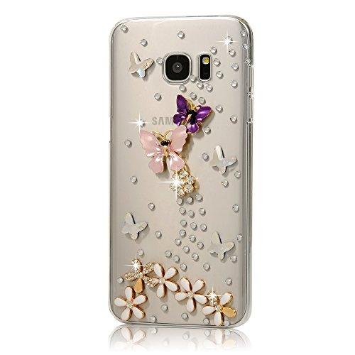 MOTIKO - Carcasa rígida para Samsung Galaxy S7 Edge, diseño de Diamantes Brillantes, Resistente a Las caídas, Resistente a Las caídas