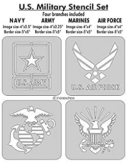 Stencils- U.S. Military Set of 4. Navy, Air force, Army, Marines. 4 Inch Image on 5 Inch Border