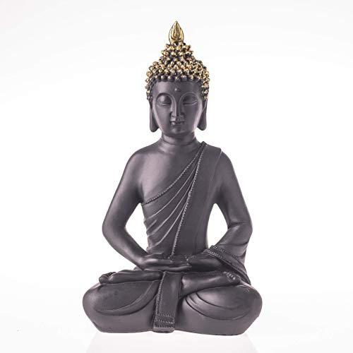 ROOMind Deko Buddha Figur - Orientalische Deko für Wohnzimmer, Bad und Garten - Höhe 30cm - Wetterbeständige Deko Skulptur für Innen und Außen