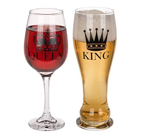 King Bierglas Queen Weinglas 2er Set 100 % Glas, Fassungsvermögen 600 & 430 ml. 2-teilig, in PVC-Box.
