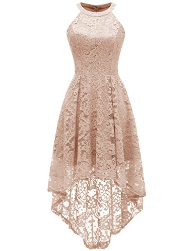 Dressystar 0028 Halter Floral Lace Cocktail Party Dress Hi-Lo Bridesmaid Dress Champagne XL