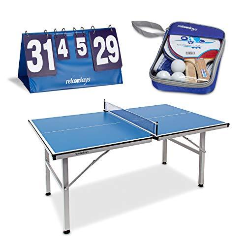 Relaxdays 3 teiliges Tischtennis Set XL, Schlägerausrüstung 2 Sterne mit 2 Tischtenniskellen, 3 Bällen und Netz, Indoor Tischtennisplatte für Ping-Pong, Zählgerät