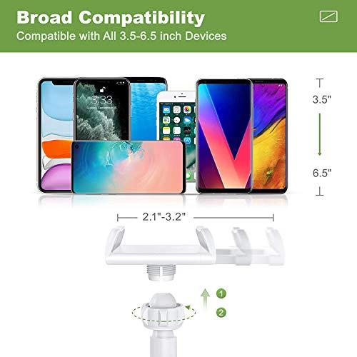 SHAWE Handyhalter, Schwanenhals Halter Flexibler Verstellbarer Arm im Bett für Phone 12/12 Mini/12 Pro/Samsung S20/S10/S9/ Huawei/usw 76cm Gesamtlänge, Geeignet für 4-6,5 Zoll Geräte (Weiß)