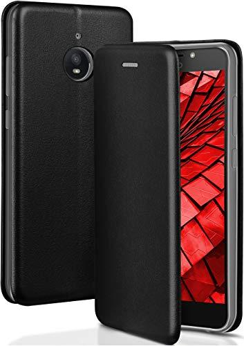 ONEFLOW Handyhülle kompatibel mit Motorola Moto E4 Plus - Hülle klappbar, Handytasche mit Kartenfach, Flip Hülle Call Funktion, Klapphülle in Leder Optik, Schwarz