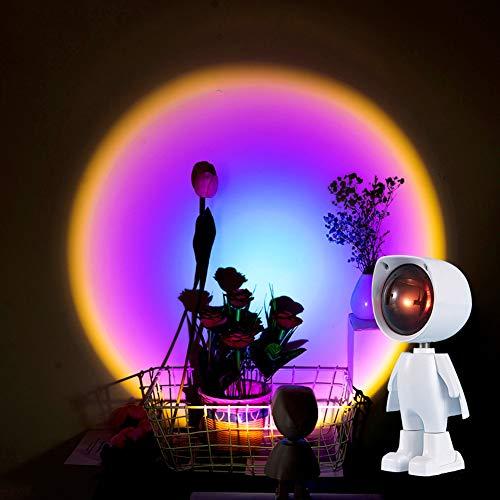 XCUGK Luz LED de proyección de puesta de sol, lámpara de pie de arco iris, luz de noche LED de luz USB para el hogar, dormitorio, sala de estar, fotografía, decoración de pared (Rainbow)
