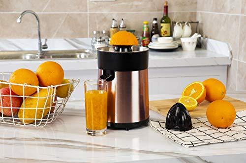 Hozodo Elektrische Zitruspresse 100 Watt, Zitronenpresse Orangenpresse Saftpresse Elektrisch, großer und kleiner Presskegelaufsatz, BPA-frei, Edelstahl/Gold