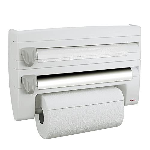 Metaltex 254410 Dispensador de portarrollos de cocina 4 en 1 Roll-n-Roll, blanco, 39 x 10 x 25 cm.