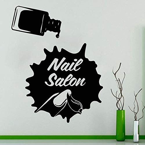 Tianpengyuanshuai Nagel Salon Wandtattoo Schönheitssalon Frau Nagellack Kunst Dekoration Vinyl Aufkleber 50X63cm
