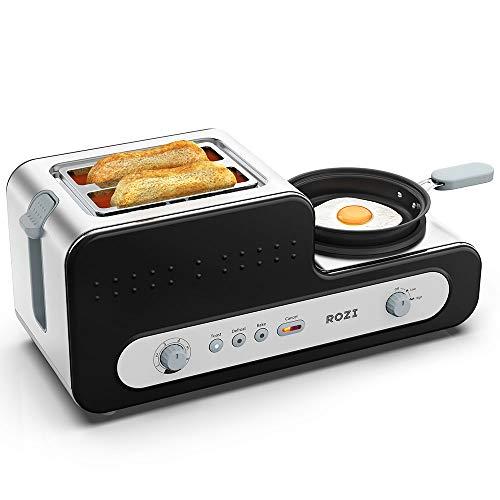 Rozi Toaster mit Pfanne , Toaster 2 Scheiben mit 6 Bräunungsstufen,Automatik-Toaster für Gekochte Eier/Sandwich/Bagel, 1230W (Schwarz)