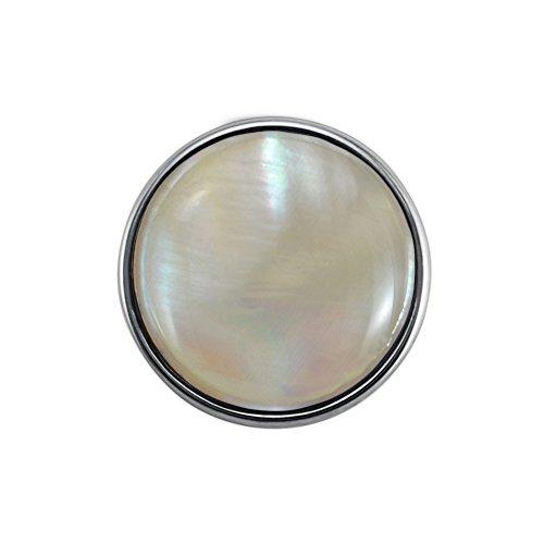 Quiges Damen Click Button 18mm Chunk Versilbert Perlmutt für Druckknopf Zubehör