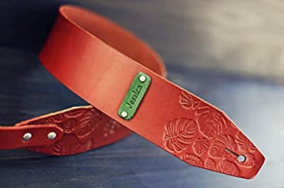 Customized Monstera Leaves Leather Guitar Strap