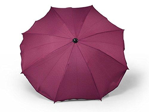 Sombrilla y paraguas universal para carros y sillas de bebé, con soporte universal, protección contra rayos UV 50+ rojo oscuro
