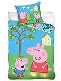 Carbotex - Juego de cama infantil (2 piezas) Peppa Pig PP192021 Peppa Wutz George - Juego de funda de almohada (140 x 200 cm, 100% algodón), diseño de Peppa Pig