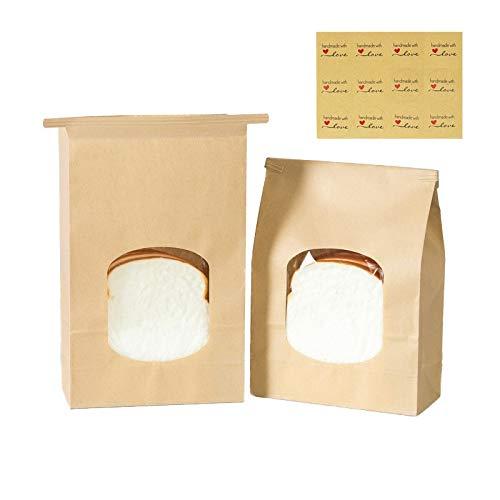 30 Pack Bakery Bags with Window Kraft Paper Bags 9.84x4.72x2.55 inch Tin Tie Tab Lock Bags Brown Window Bags Coffee Bags Cookie Bags Treat Bags