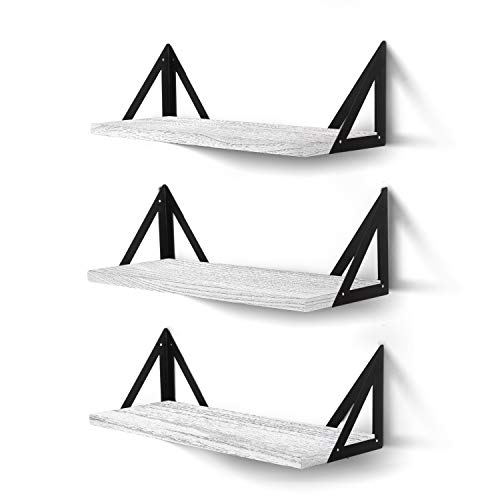 CASSA Wall Mounted Floating Shelves Set of 3 Large, Storage Bookshelf Unit for Living Room Office Bedroom Bathroom and Kitchen Display Natural Rustic Wood Decor with Metal Shelf Bracket (White-Grey)