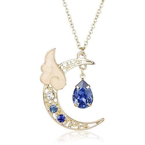 Shangwang - Collar con colgante de luna para mujer, diseño de luna