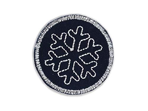 Glitzer Schneeflocke Bügelbild, glitzernder Hosenflicken mit Eisblume zum Aufbügeln, Durchmesser 5 cm