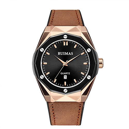 QZPM Herren-Uhr, Geschäft Mode Wasserdichter Sport Chronograph Analog Quarz-Uhrwerk Uhren Kratz- Elegantes Geschenk Für Männer,Camel