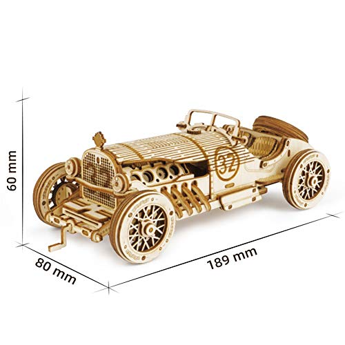 3D Puzzle for Adults and Kids Wooden Mechanical Gears Toy Building Set car Brain Teaser Games Puzzles Craft KIT Supplies (Color : A)