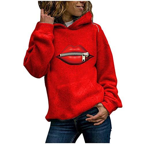 IHGWE Christmas Ladies Sweat à capuche avec imprimé lèvres rouges - Rouge - XXL