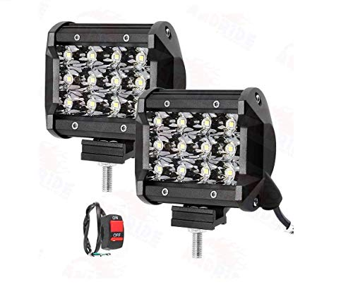 Andride 12 LED Fog Light/Work Light Bar Spot Beam Off Road Driving Lamp 36W Cree -Universal Fitting Good Fit on All Bikes and Cars -Set of 2 Pieces (with Switch)