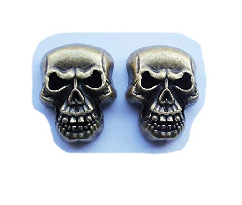 Conchos de calavera únicos con tornillo de espalda para sillines de motocicleta Bolsa Cinturón Brida Fabricación de decoraciones de cuero Concho, botones de adorno, 2.7 x 3.5 cm, Paquete de 2 (Bronce)