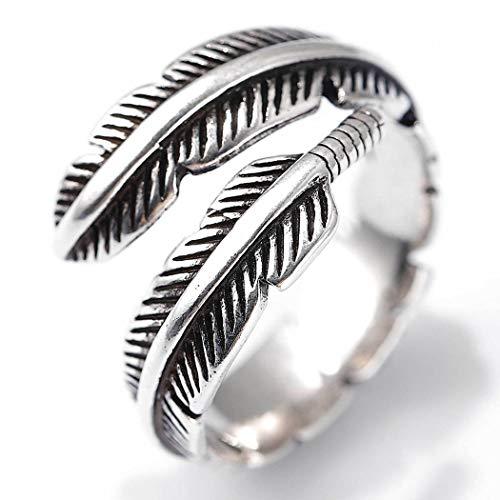 Flrora Anillo de mujer vintage con plumas de plata y anillo abierto ajustable para los nudillos de moda anillo de joyería para mujeres y niñas