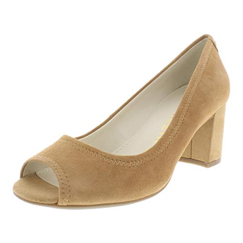 Anne Klein Womens Meredith Leather Peep Toe Classic Pumps, Natural, Size 10.5
