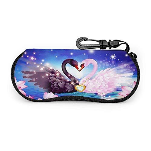 SDFGJ Estuche para anteojos Swan Lotuses Love Black White Diamond Eternity Estuche para anteojos Estuche para gafas de sol de viaje portátil resistente a los rasguños Soporte para gafas de almeja Sopo