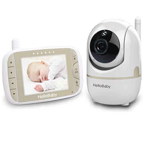 HelloBaby HB65 Video Babyphone mit Fernbedienung Pan-Tilt-Zoom, 3.2 '' Farb-LCD-Bildschirm, Infrarot-Nachtsicht, Temperaturüberwachung, Wiegenlied, Zwei-Wege-Audio